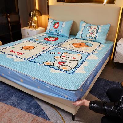 (总)丽芙2021凉感丝大版乳胶凉席三件套大阪冰丝凉席床笠款 120*200cm两件套 午后时光-床笠款