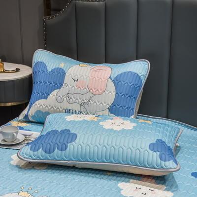 (总)丽芙2021凉感丝乳胶枕套(可与圆网床笠款组合三件套) 48cmX74cm/对 云朵象-枕套