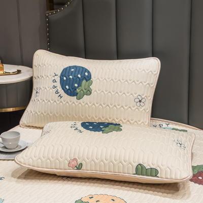 (总)丽芙2021凉感丝乳胶枕套(可与圆网床笠款组合三件套) 48cmX74cm/对 多彩草莓-枕套