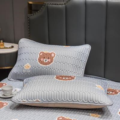 (总)丽芙2021凉感丝乳胶枕套(可与圆网床笠款组合三件套) 48cmX74cm/对 笨蛋熊-枕套