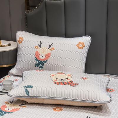 (总)丽芙2021凉感丝乳胶枕套(可与圆网床笠款组合三件套) 48cmX74cm/对 呆熊萌兔-枕套