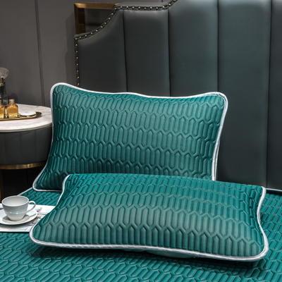 (总)丽芙2021凉感丝乳胶枕套(可与圆网床笠款组合三件套) 48cmX74cm/对 墨绿-枕套