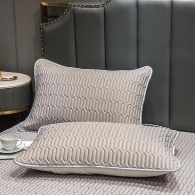 (总)丽芙2021凉感丝乳胶枕套(可与圆网床笠款组合三件套) 48cmX74cm/对 意境灰-枕套