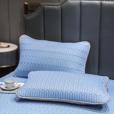 (总)丽芙2021凉感丝乳胶枕套(可与圆网床笠款组合三件套) 48cmX74cm/对 天真蓝-枕套