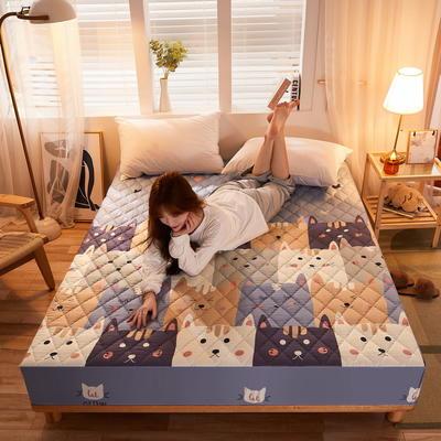 (总)丽芙2021新款超声波夹棉磨毛防水床笠(抗菌防螨)—印花 150cmx200cm 猫咪乐园