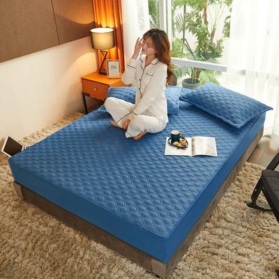 (总)丽芙2021新款工艺款夹棉床笠—浅色背景 150cmx200cm 宝石蓝