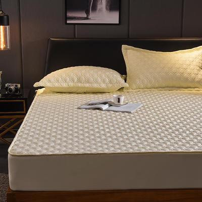 (总)丽芙2021新款工艺款夹棉床笠—深色背景 150cmx200cm 活力黄