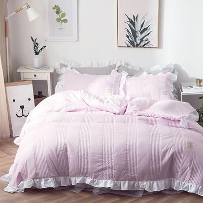 2018新款全棉絎縫夾棉四件套床裙款-安琪兒 1.2m(4英尺)床 安琪兒粉