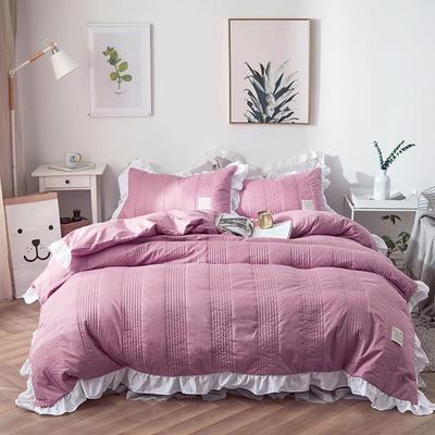2018新款全棉絎縫夾棉四件套床裙款-安琪兒 1.2m(4英尺)床 安琪兒紅