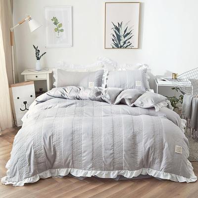 2018新款全棉絎縫夾棉四件套床裙款-安琪兒 1.2m(4英尺)床 安琪兒灰