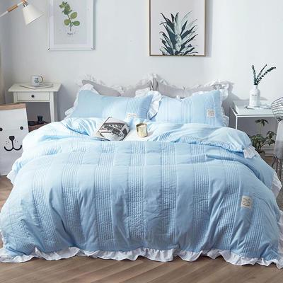 2018新款全棉絎縫夾棉四件套床裙款-安琪兒 1.2m(4英尺)床 安琪兒藍
