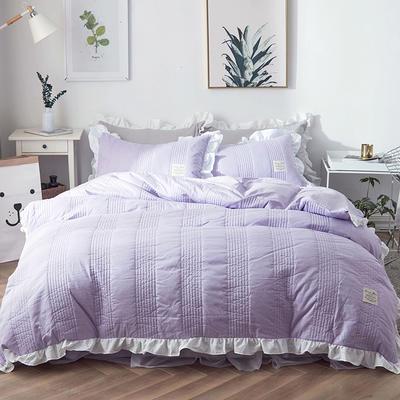 2018新款全棉絎縫夾棉四件套床裙款-安琪兒 1.2m(4英尺)床 安琪兒紫