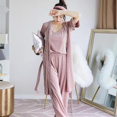2018新款睡衣金丝绒抽条三件套 均码 粉色