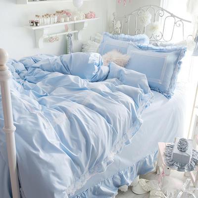 全棉四件套布利斯 1.5m(5英尺)床 布里斯藍天藍色