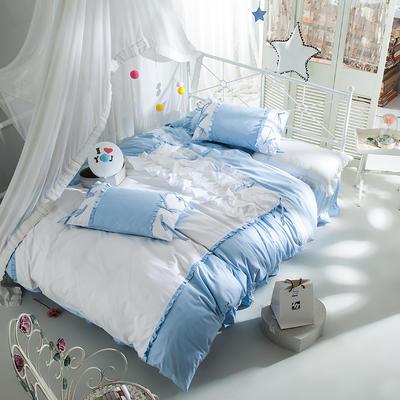 全棉四件套公主蝴蝶結 1.5m(5英尺)床 繪雅風情藍