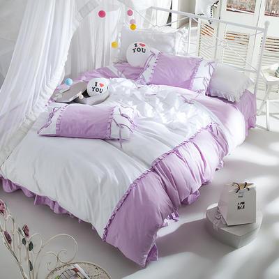全棉四件套公主蝴蝶結 1.5m(5英尺)床 繪雅風情紫