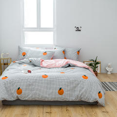2019新款全棉四件套 1.2m(4英尺)床 橙子