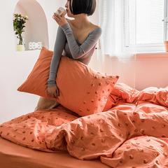 2019新款色織水洗棉毛巾繡四件套 1.5m床單款 波點-橘