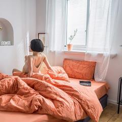 2019新款色織水洗棉毛巾繡四件套 1.5m床單款 絨花-橘