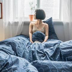2019新款色織水洗棉毛巾繡四件套 1.5m床單款 絨花-藍