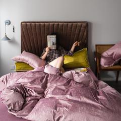 2019新款意大利燙金絨四件套 1.5m(5英尺)床單款 絨-肉粉