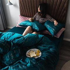 2019新款意大利燙金絨四件套 1.5m(5英尺)床單款 絨-深藍