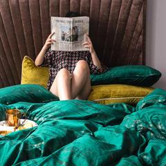2019新款意大利燙金絨四件套 1.5m(5英尺)床單款 絨-水綠