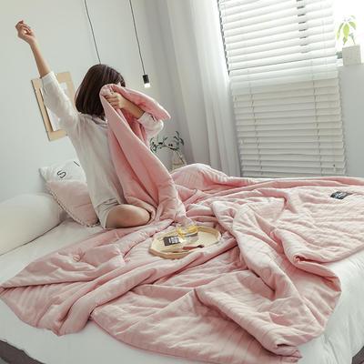 2019新款-全棉針織棉夏被 150x200cm 胭脂粉