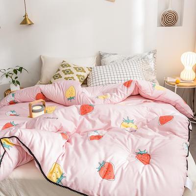 2019专版13372小清新全棉印花冬被春秋被 150x200cm 4斤 草莓