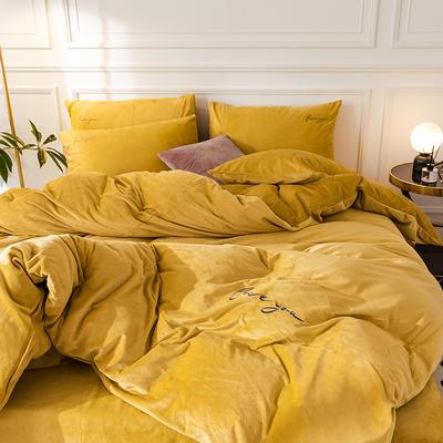 (總)2019輕奢刺繡水晶絨四件套 1.2m(4英尺)床 姜黃