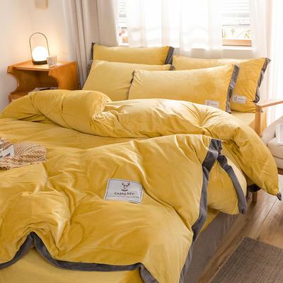 (總)2019寬邊工藝加厚保暖水晶絨四件套 1.2m(4英尺)床 翡翠綠
