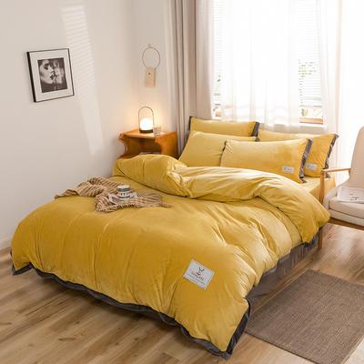 (总)2019宽边工艺加厚保暖水晶绒四件套 1.2m(4英尺)床 姜黄