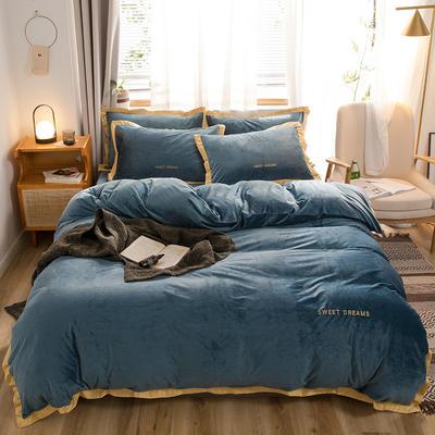 奧汀洛2019金邊刺繡冬天加厚保暖水晶絨四件套 1.2m(4英尺)床 藏藍