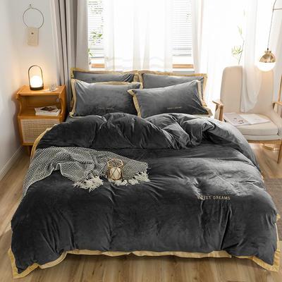 奥汀洛2019金边刺绣冬天加厚保暖水晶绒四件套 1.2m(4英尺)床 深灰