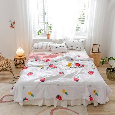 2020新款-水洗棉小花边夏被 180x200cm 甜草莓
