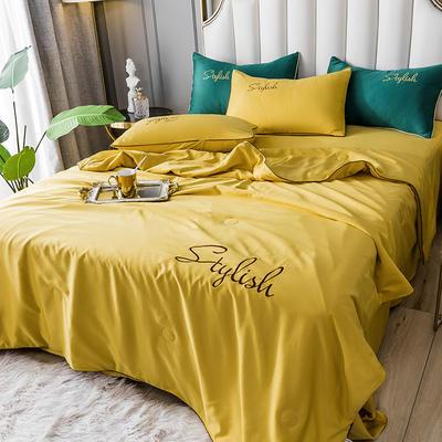 2020新款-水洗天丝刺绣真丝夏被四件套 单夏被200x230cm 古金黄
