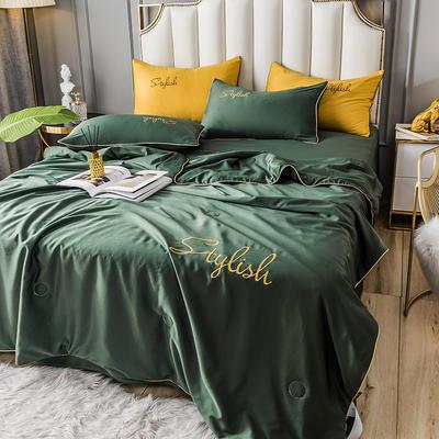 2020新款-水洗天丝刺绣真丝夏被四件套 单夏被200x230cm 墨绿