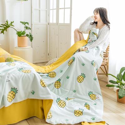 2020 奥汀洛-水洗天丝印花夏被四件套真丝空调被 单夏被150x200cm 菠萝