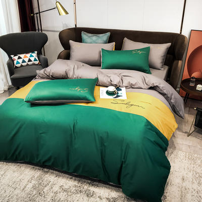 2020新款40支全棉四件套刺绣三拼纯棉床笠三件套 1.5m(5英尺)床 三拼-墨绿