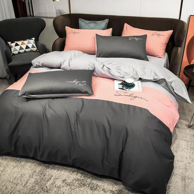 2020新款40支全棉四件套刺绣三拼纯棉床笠三件套 1.5m(5英尺)床 三拼-高级灰