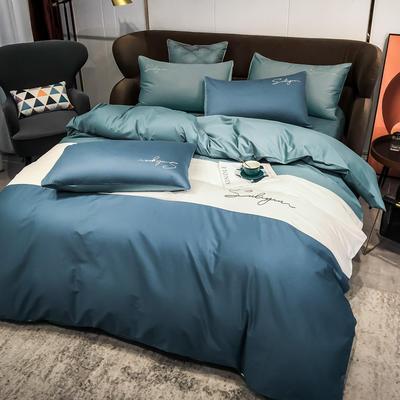2020新款40支全棉四件套刺绣三拼纯棉床笠三件套 1.5m(5英尺)床 三拼-宾利蓝