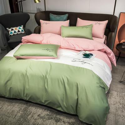 2020新款40支全棉四件套刺绣三拼纯棉床笠三件套 1.5m(5英尺)床 三拼-灰绿