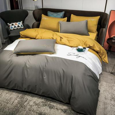 2020新款40支全棉四件套刺绣三拼纯棉床笠三件套 1.5m(5英尺)床 三拼-绅士灰