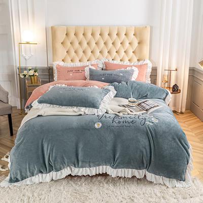 2020新款-韩版刺绣水晶绒法莱绒牛奶绒四件套 1.8m床单款四件套 宾利兰+浅豆沙