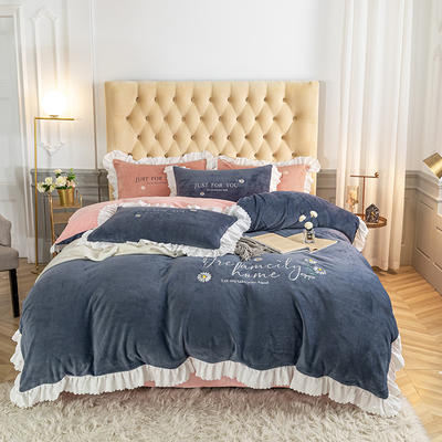 2020新款-韩版刺绣水晶绒法莱绒牛奶绒四件套 1.8m床单款四件套 紫灰+玫瑰粉