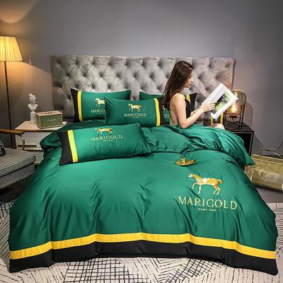 2021新款-40全棉133x72刺绣四件套-骑士系列 1.8m床单款四件套 翠绿