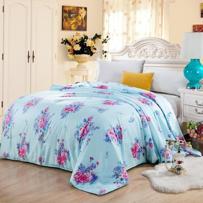 丝绸印花蚕丝被   冬被被子被芯 150*200cm-6斤 国色天香(蓝)