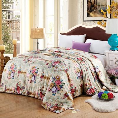 丝绸印花蚕丝被   冬被被子被芯 150*200cm-6斤 卡其金