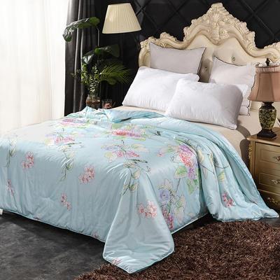 丝绸印花蚕丝被   冬被被子被芯 150*200cm-4斤 翠雀枝头-绿