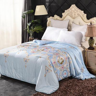 丝绸印花蚕丝被   冬被被子被芯 150*200cm-4斤 美人在怀-蓝